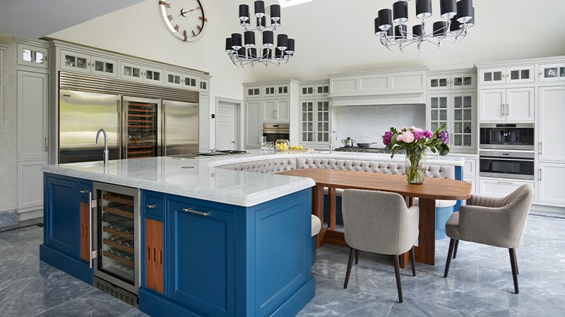 banquette seating area in a new kitchen