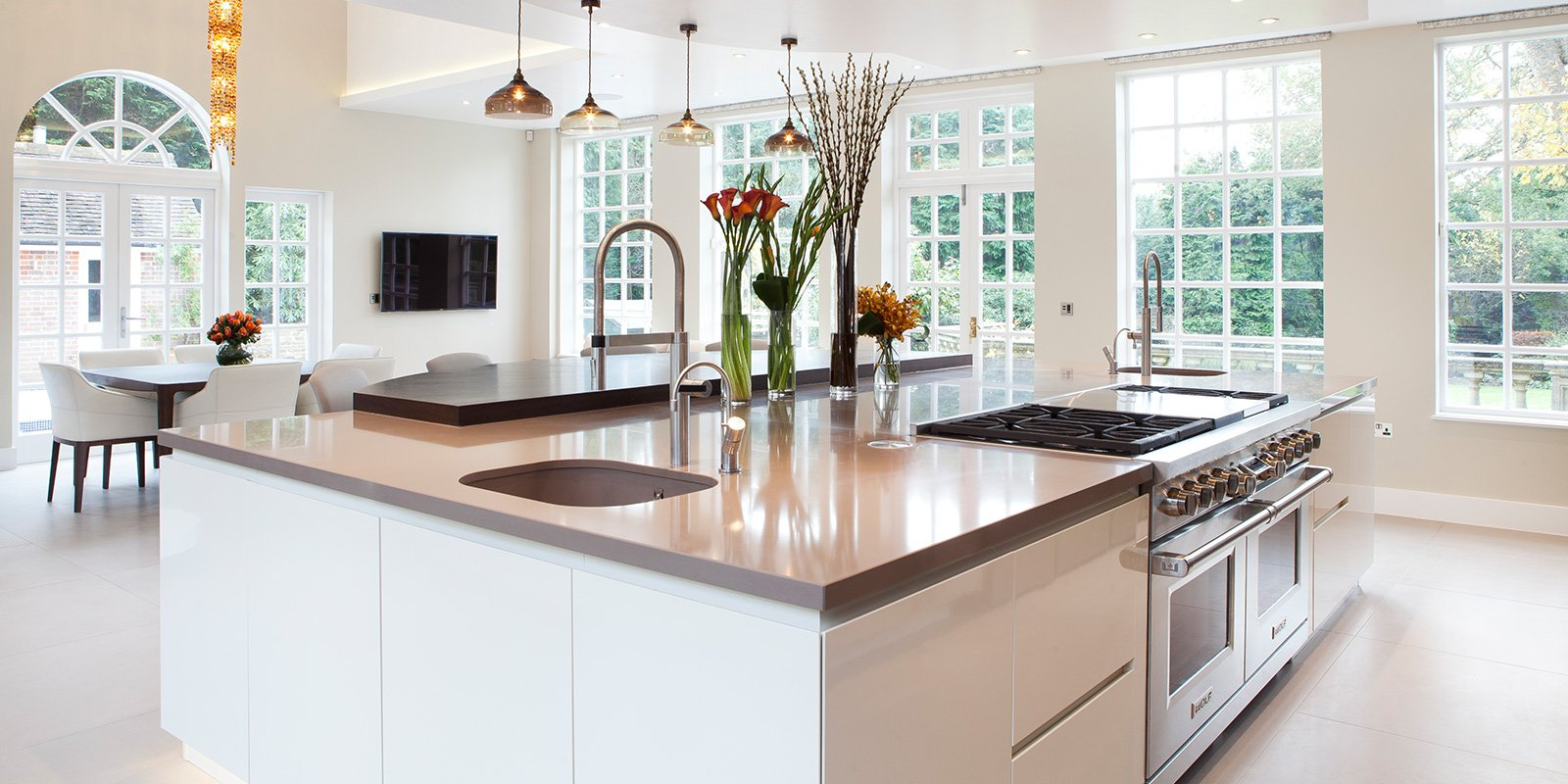 country house kitchen with an island