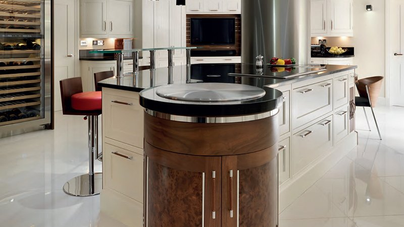 curved kitchen island with seating area