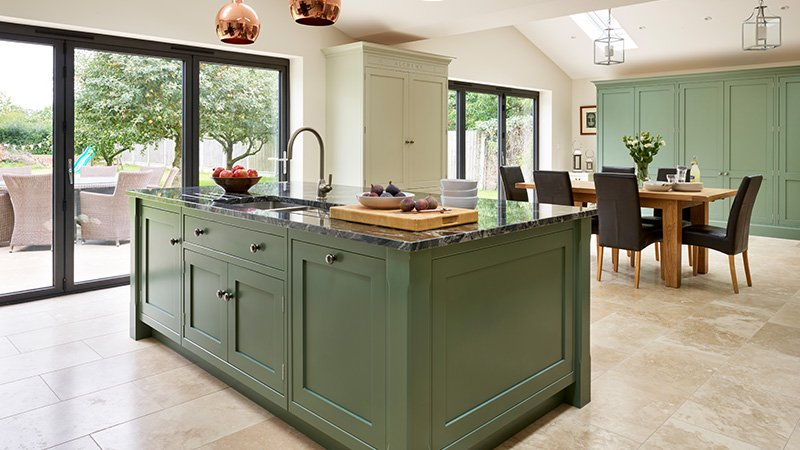 davonport kitchen with island and dining area