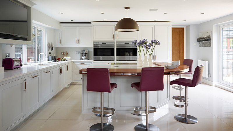 davonport kitchen with island and seating area