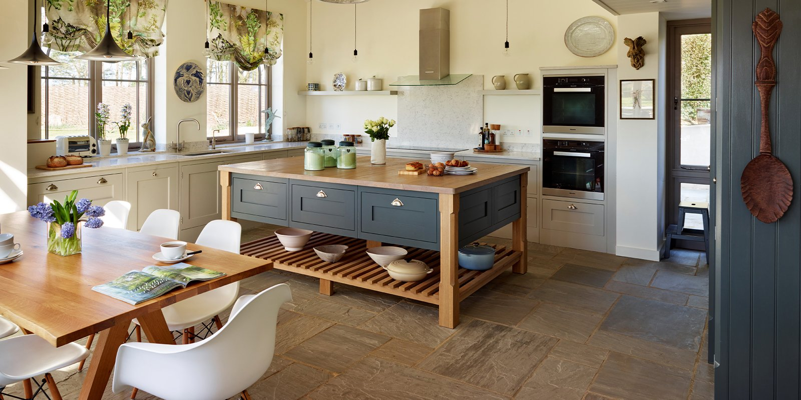 davonport kitchen with large island and dining area