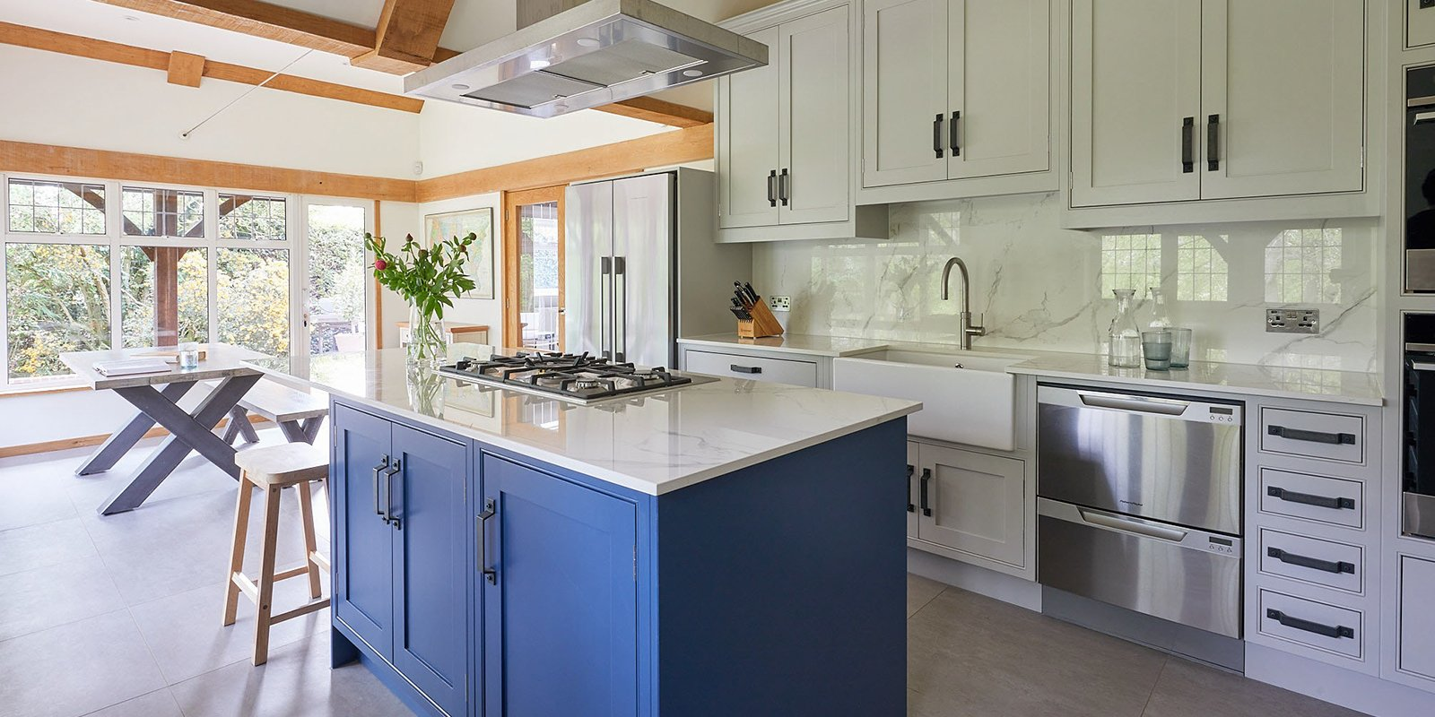 hand painted kitchen in pavilion grey and stiffkey blue