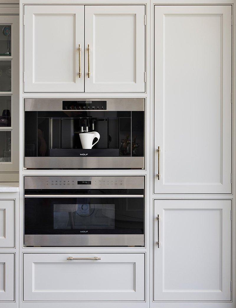 hand painted kitchen using a subtle grey colour