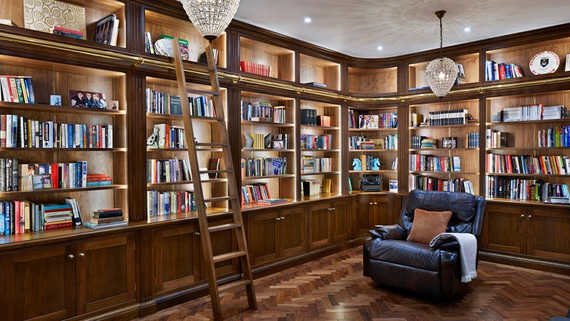 jane cheel furniture showcasing a large book collection