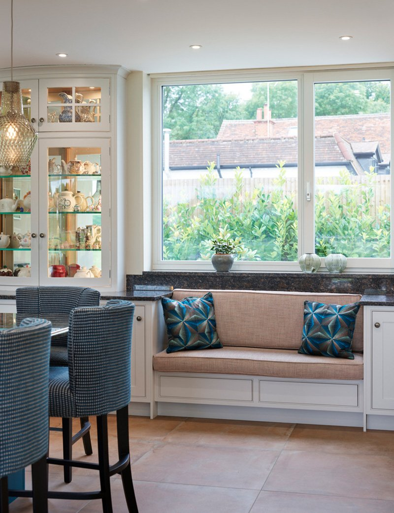 jane cheel kitchen with soft seating area