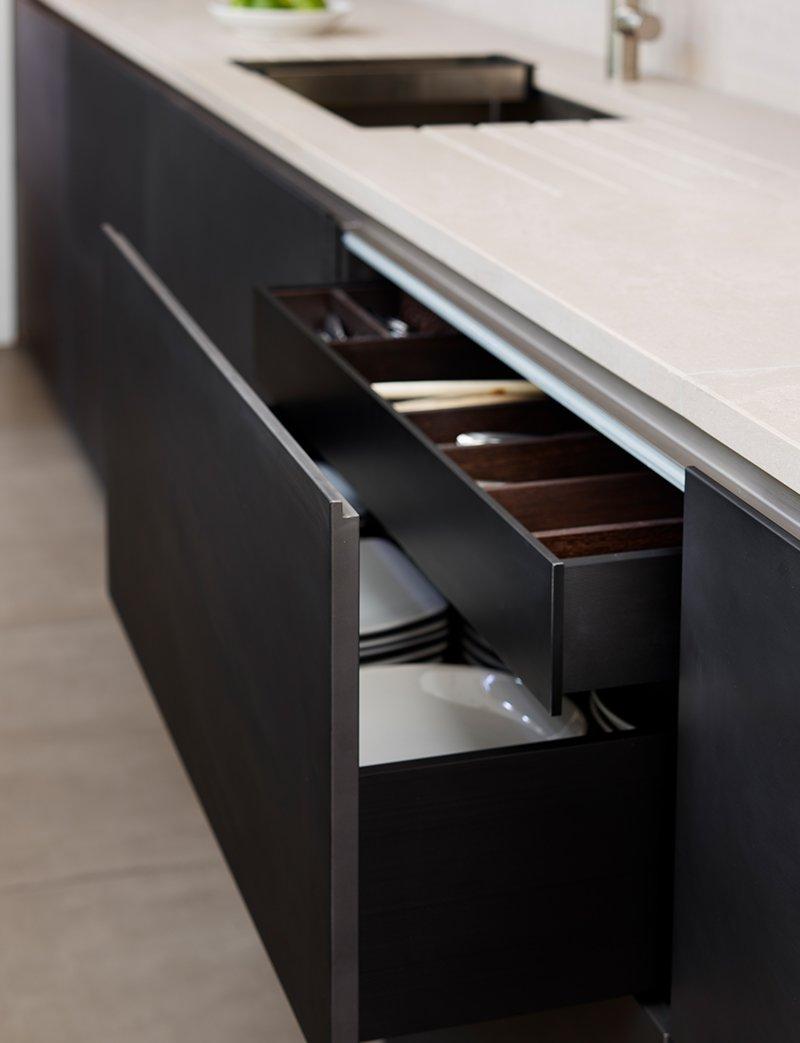 kitchen drawers with dark walnut finish from dada