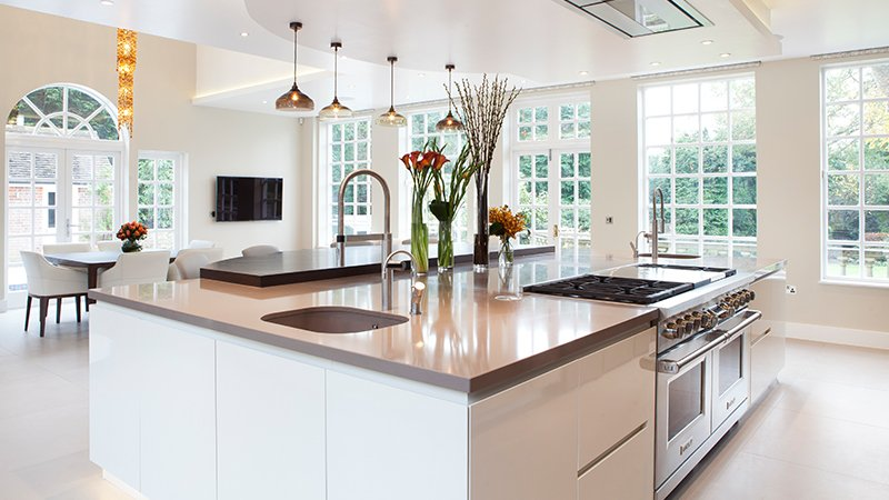 kitchen island with lots of natural light