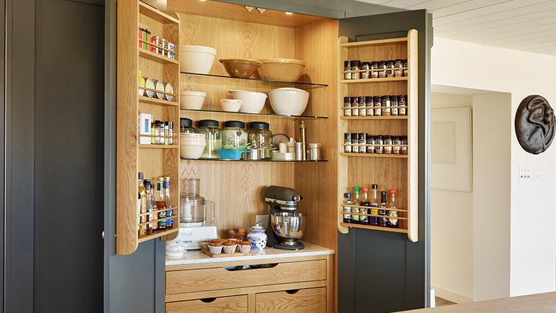 kitchen pantry with wooden finish