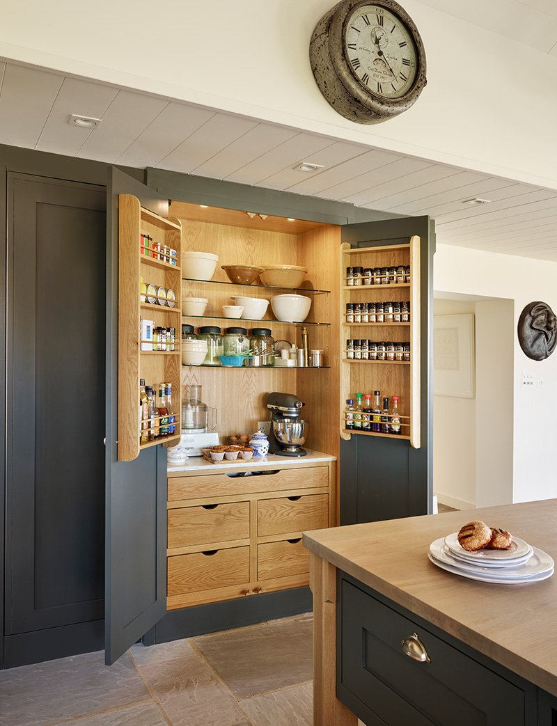 kitchen with a large spice cupboard