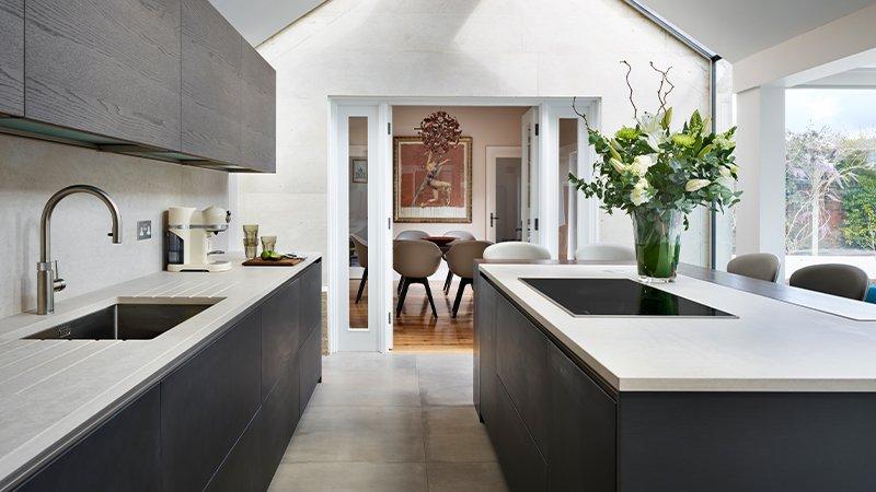 kitchen with dark walnut finish