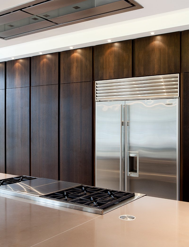 kitchen with fridge and extractor