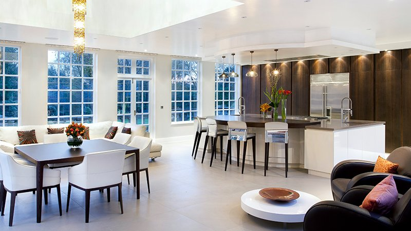 kitchen with island and dining area