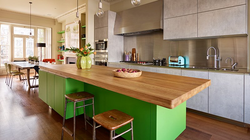 kitchen with large island for dinner parties and lids alike