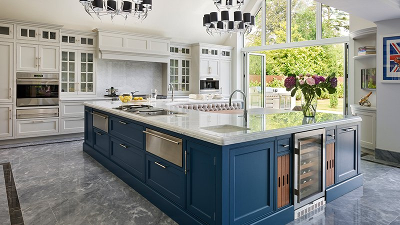 large island kitchen with range cooker