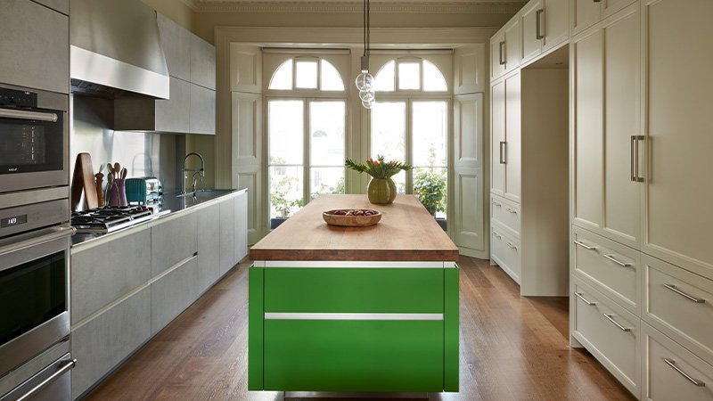 large kitchen with beautiful french doors