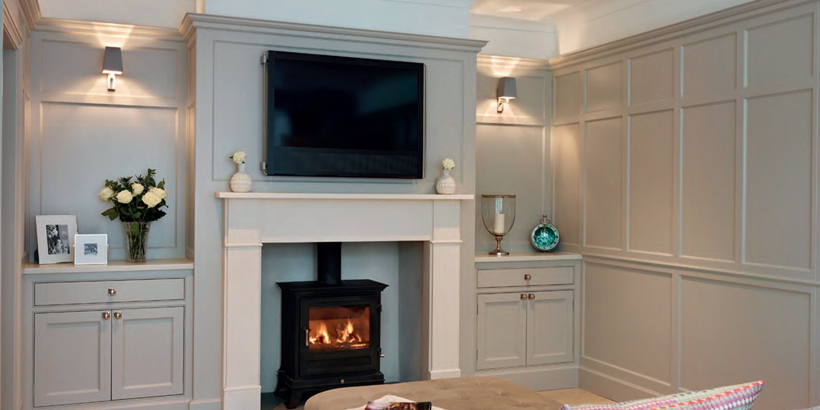large television over the fireplace