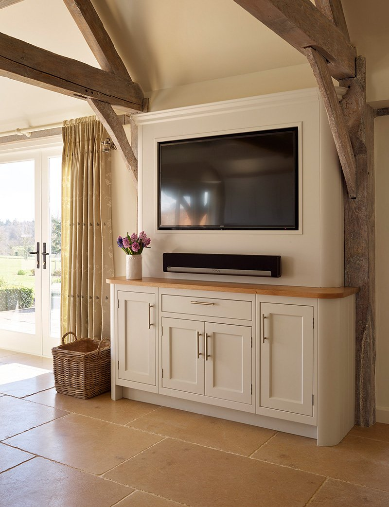 large tv with sound bar