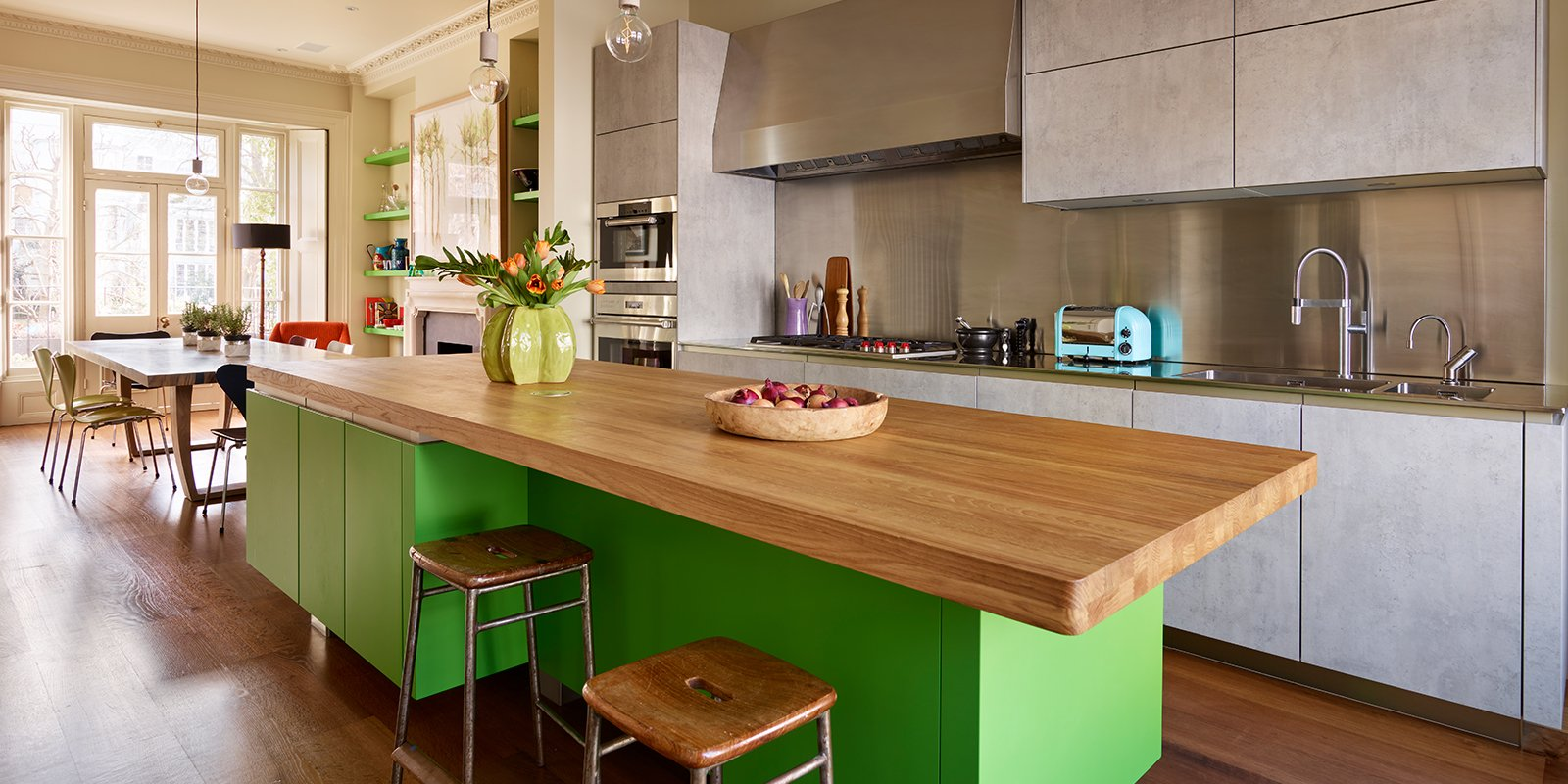 lime green lacquer kitchen with hand painted units