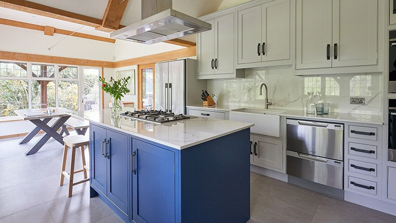 new kitchen with hand painted units in stiffkey blue