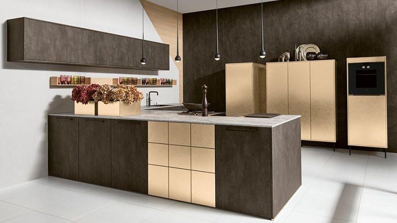 pronorm kitchen in brown and gold