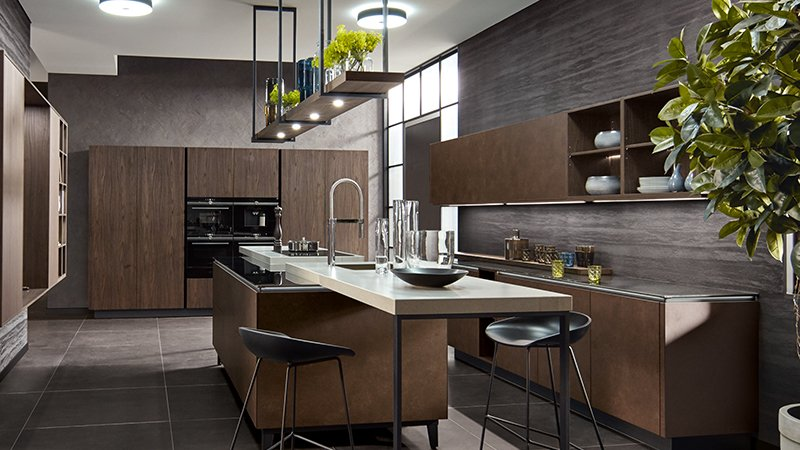 pronorm kitchen with dark wood finish