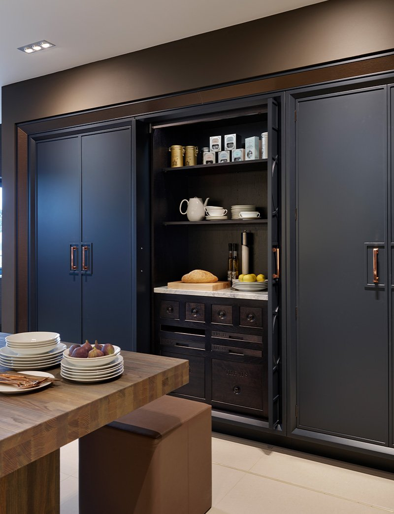 storage against a long wall in a kitchen