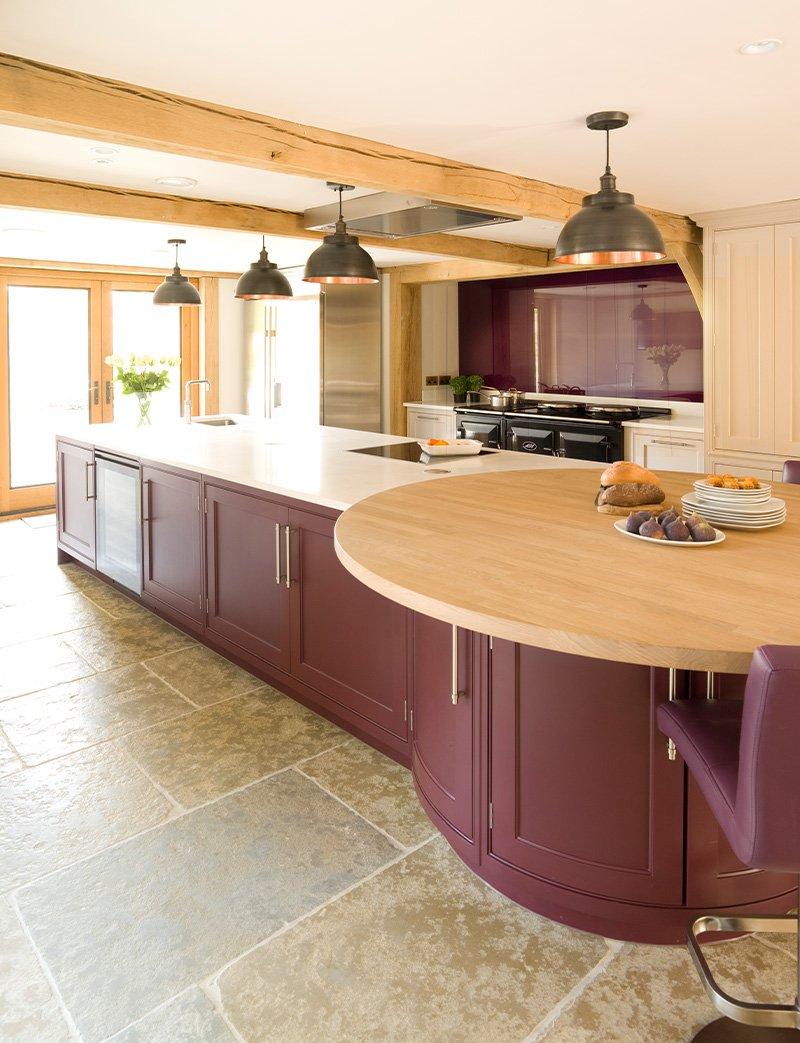 kitchen island with round oak breakfast bar