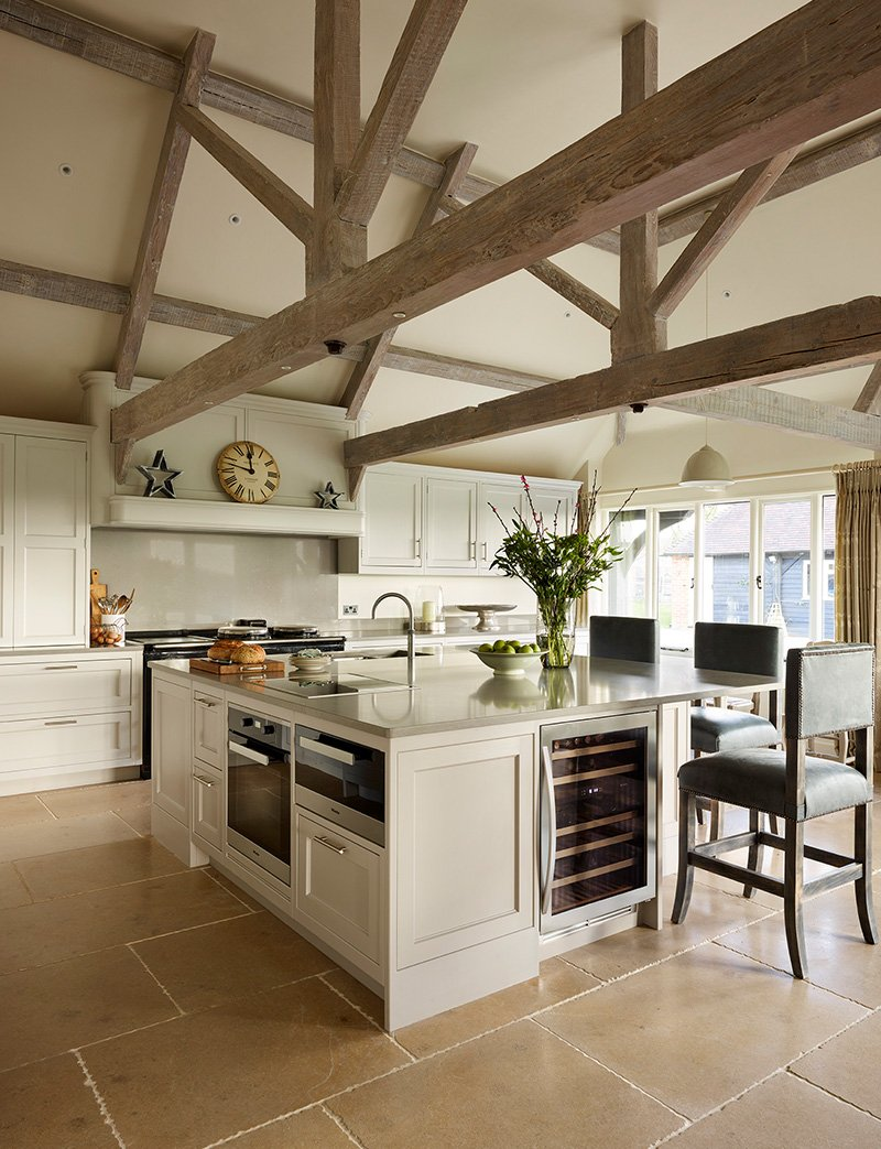 kitchen with ceiling beams