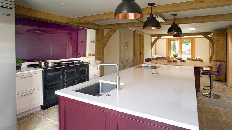 kitchen with organic white worktop in caesarstone