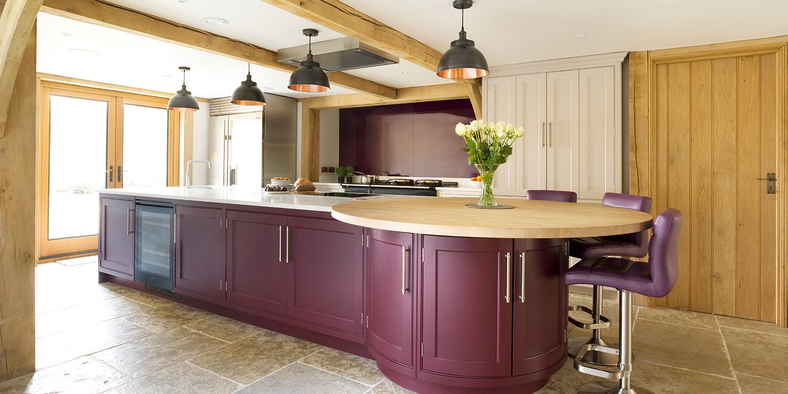 new kitchen in a welsh oak framed timbered house