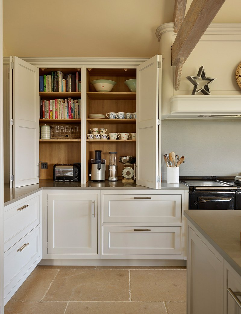 new kitchen with large cupboard space